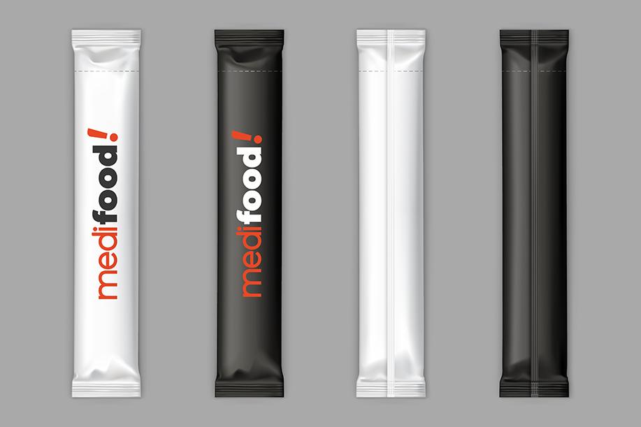 Black, white sugar sachet sticks vector mockup